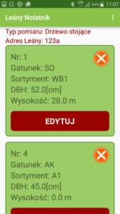 Aplikacja Leśny notatnik podgląd pomiarów
