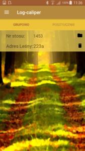 Aplikacja leśna Log-caliper podgląd pomiarów