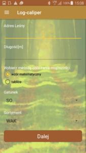 Aplikacja leśna Log-caliper nowy pomiar