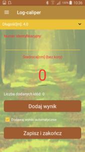 Aplikacja leśna Log-caliper pomiar kłody
